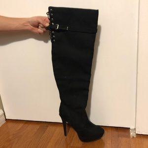 Over the knee - black boots - size 9 - never worn